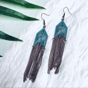 Jewelry - NEW Chain Fringe Tassel Boho Distressed Earrings